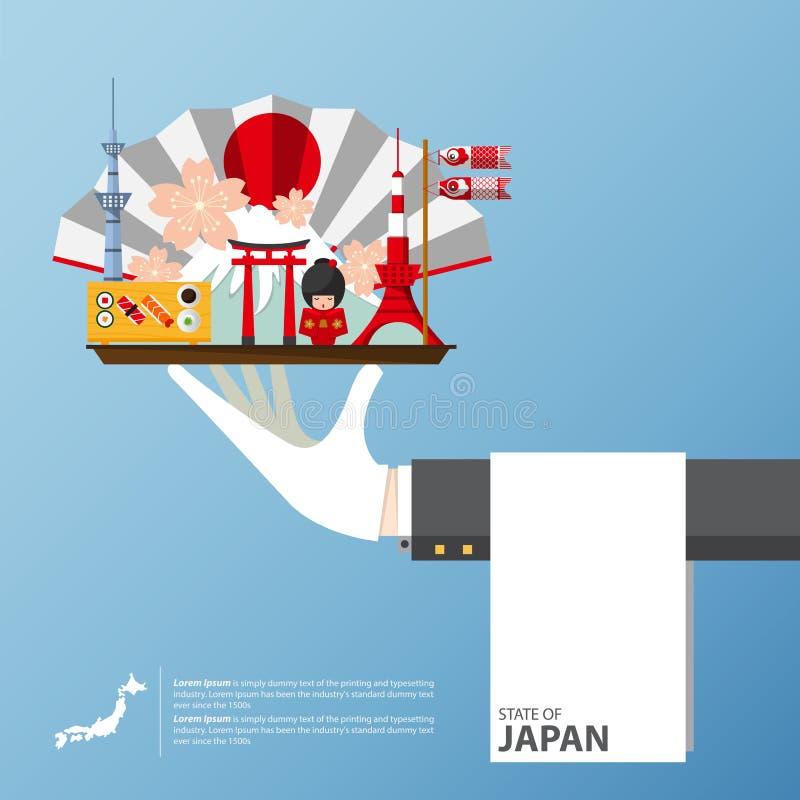 Voyage global de point de repère du Japon infographic dans la conception plate illustration de vecteur