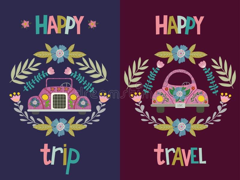 Voyage heureux et voyage heureux, ensemble de main dessinant la voiture mignonne de bande dessinée avec éléments et modèles flora illustration de vecteur
