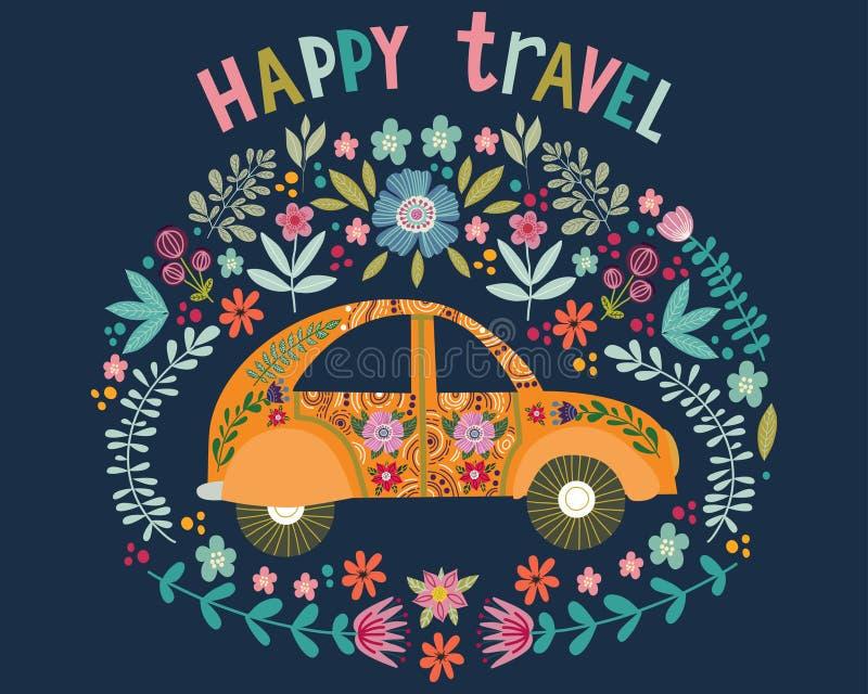 Voyage heureux, voiture mignonne de bande dessinée de dessin de main avec éléments floraux et modèles Appartement folklorique de  illustration stock