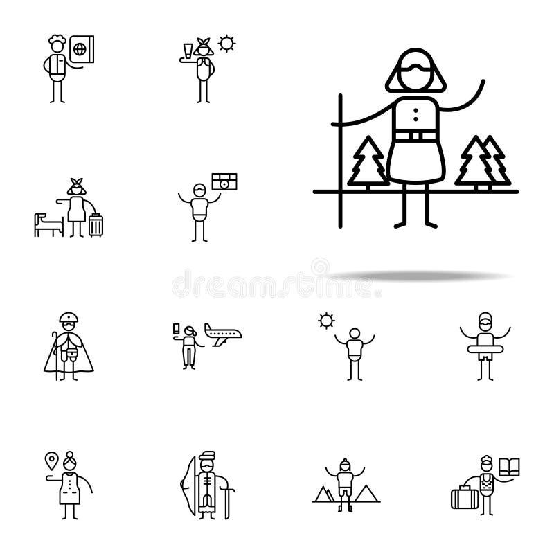 Voyage, icône de randonneur Ensemble universel d'icônes de voyage pour le Web et le mobile illustration de vecteur