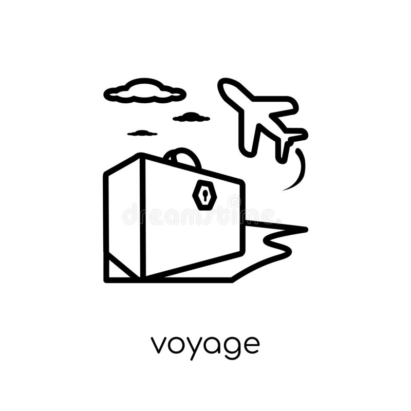 Voyage icon. Trendy modern flat linear vector voyage icon on white background from thin line Architecture and Travel collection. Editable outline stroke vector royalty free illustration