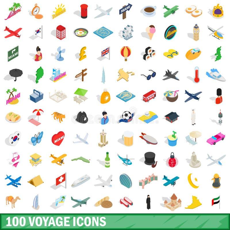 100 voyage icons set, isometric 3d style. 100 voyage icons set in isometric 3d style for any design vector illustration vector illustration