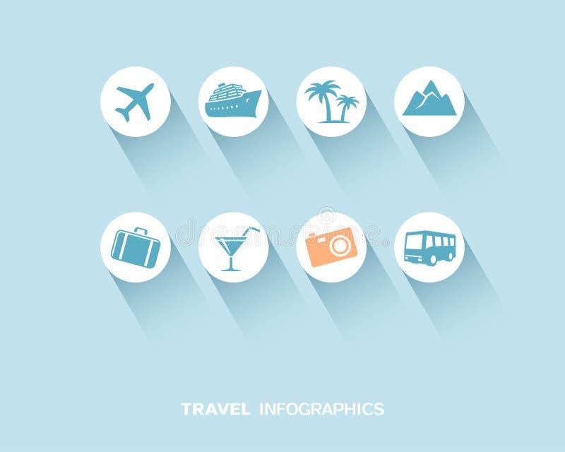 Voyage infographic avec les icônes plates réglées illustration de vecteur