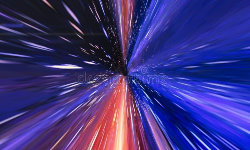 Voyage interstellaire, de temps et saut hyper dans l'espace illustration stock