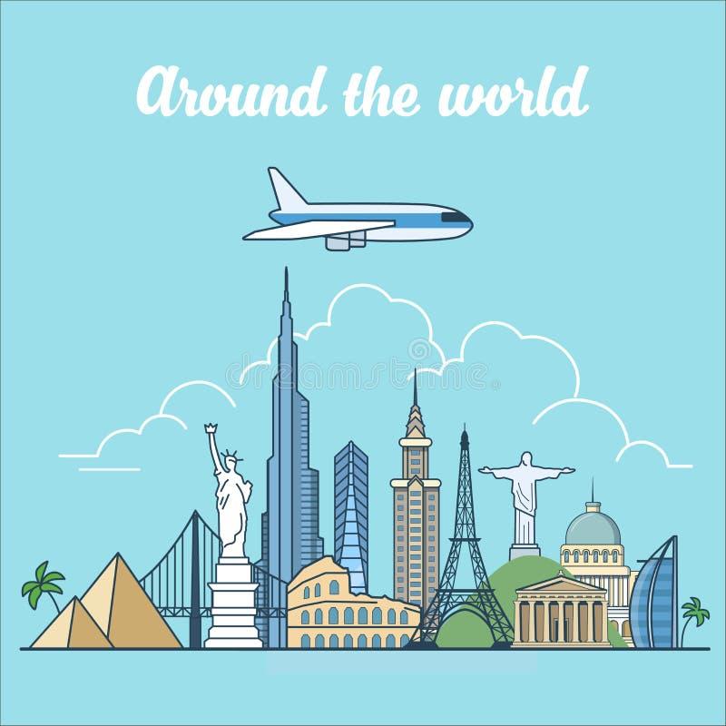 Voyage linéaire de vecteur de points de repère d'horizon de mouche d'avion plat illustration stock