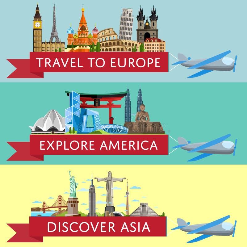 Voyage mondial réglé avec les attractions célèbres illustration de vecteur
