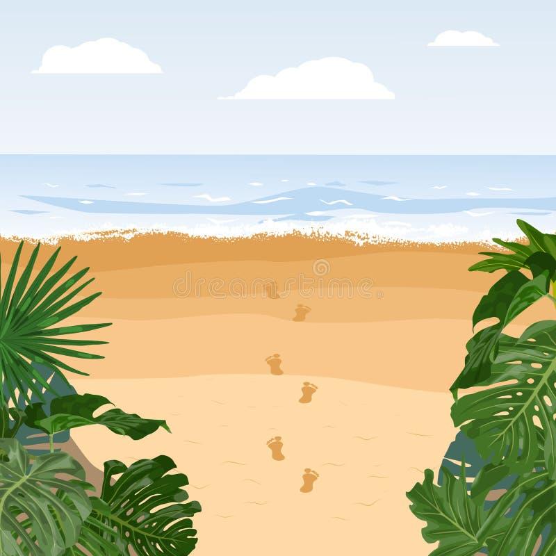 Voyage paisible d'?le, vacances d'?t? Empreinte de pas de sable de plage illustration stock