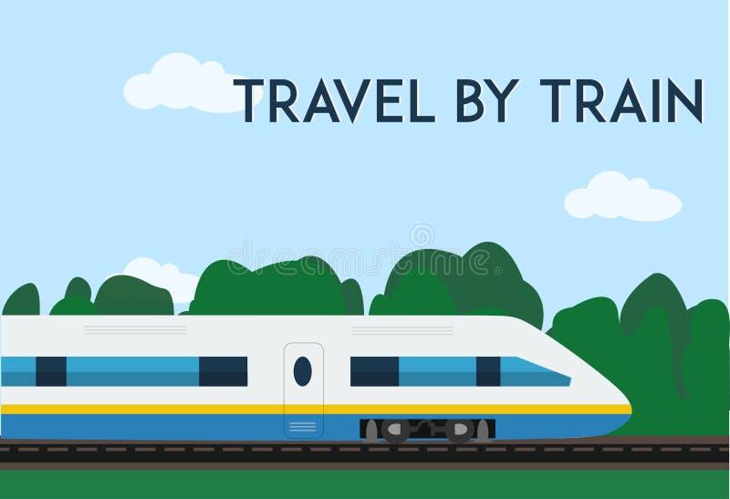Voyage par l'affiche de train Illustration plate minimale de vecteur pour le Web ou la copie illustration libre de droits