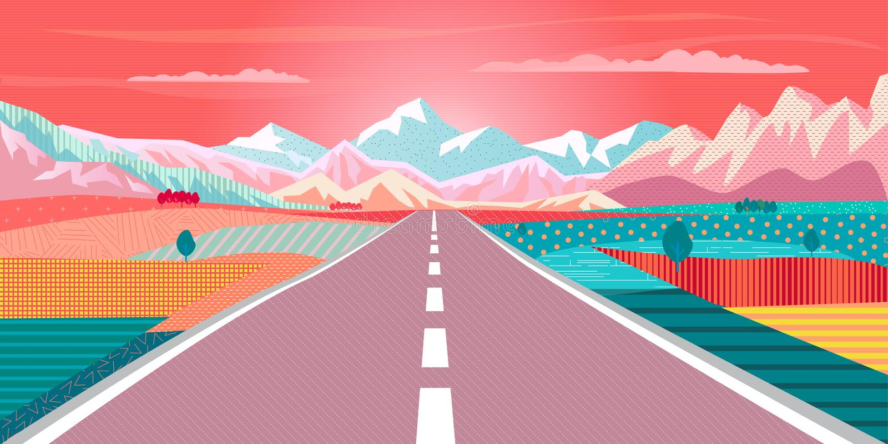 Voyage par la route au paysage de coucher du soleil de montagne illustration de vecteur