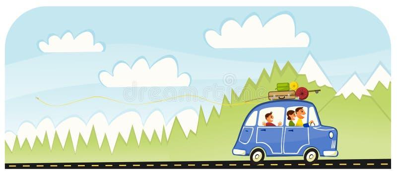 Voyage par la route de famille de vacances d'été illustration de vecteur