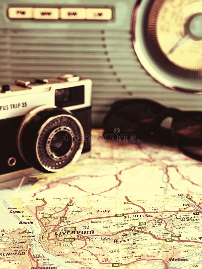 Voyage par la route vers Liverpool avec la carte de caméra de 35mm et photographie stock