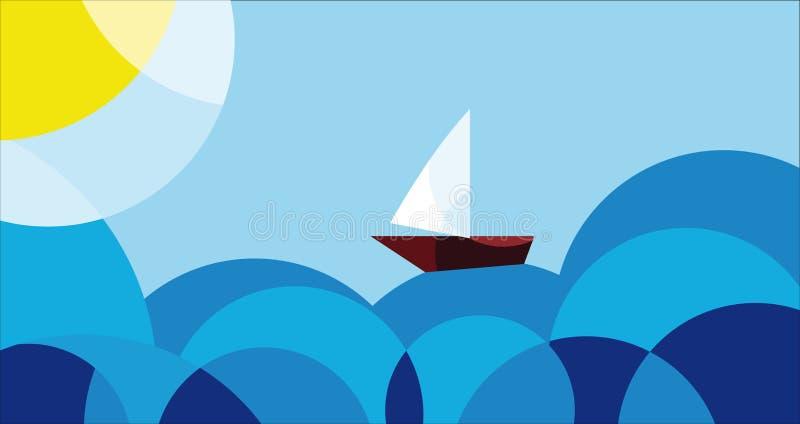 Voyage, paysage marin illustration de vecteur