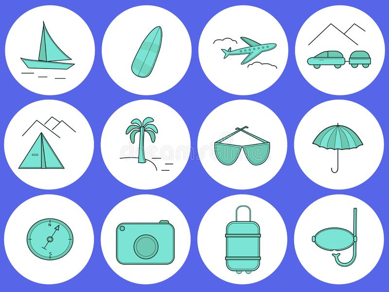 Voyage Placez des icônes rondes sur le thème du voyage illustration stock