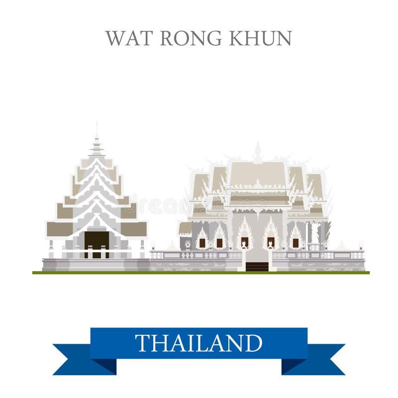Voyage plat d'attraction de vecteur de Wat Rong Khun Thailand visitant le pays illustration libre de droits
