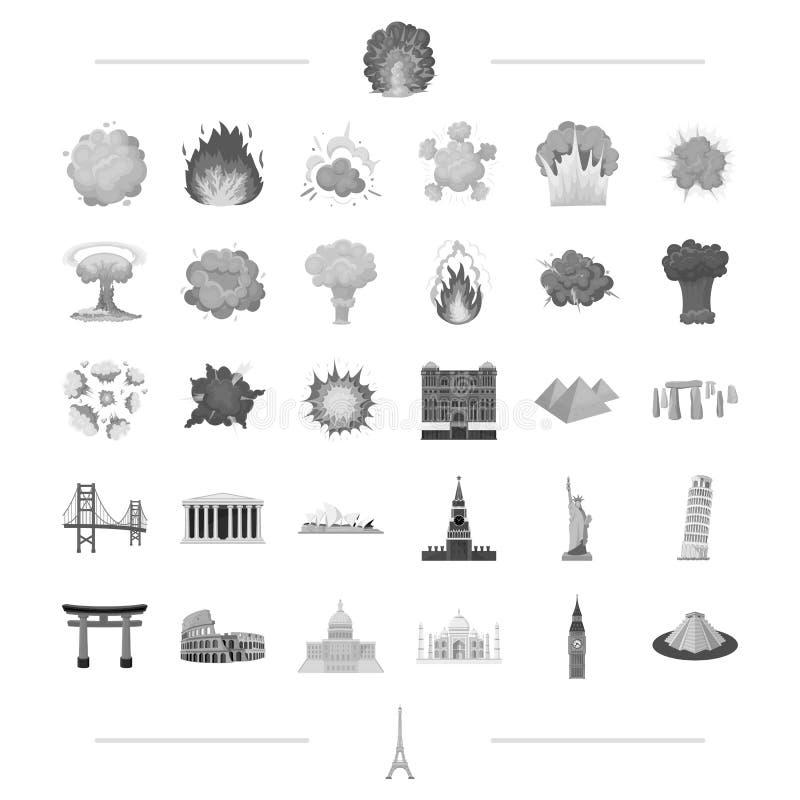Voyage, point de repère, monument et toute autre icône de Web dans le style noir guerre, danger, icônes d'armes dans la collectio illustration stock