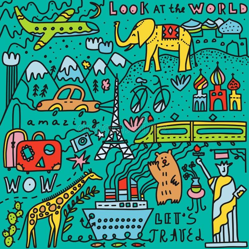 Voyage réglé avec le lettrage Illustration tirée par la main de vecteur Gribouillez le type Symboles populaires du monde du touri illustration libre de droits