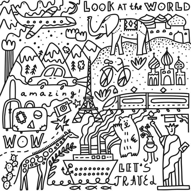 Voyage réglé avec le lettrage Illustration tirée par la main de vecteur Gribouillez le type Symboles populaires du monde du touri photo stock