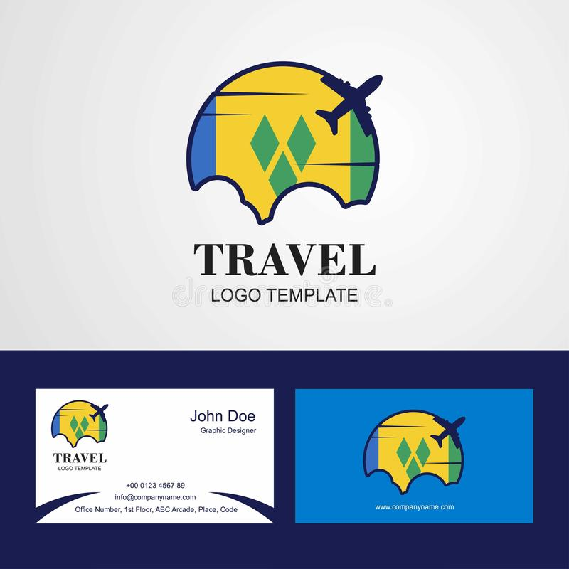 Voyage Saint Vincent et carte de logo et de visite de drapeau de grenadines illustration de vecteur