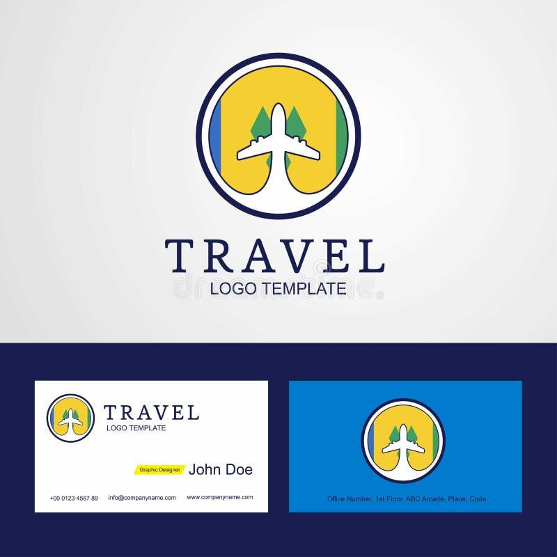 Voyage Saint Vincent et logo créatif de drapeau de cercle de grenadines illustration libre de droits