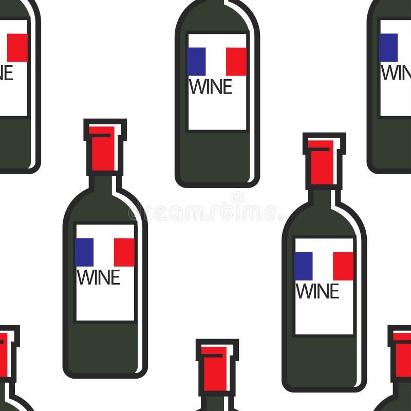 Voyage sans couture de modèle de Bordeaux ou de Cabernet de bouteilles de vin français vers la France illustration stock