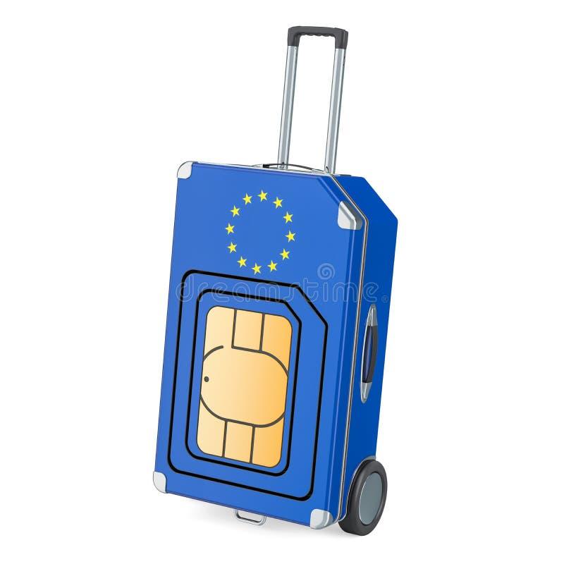 Voyage Sim, errant et voyageant dans l'Union européenne, rendu 3D illustration de vecteur