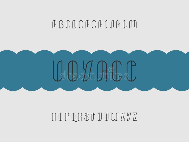 Voyage stroke font. Vector. Alphabet letters. Typeface design. Typography Graphic vector illustration