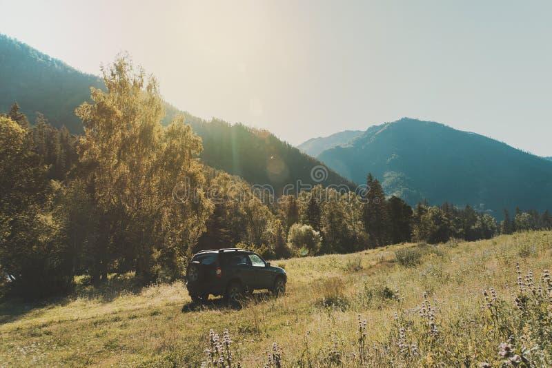 Voyage tous terrains de promenade en voiture sur la voiture sur la route de montagne contre des roches et le glacier dans l'Altay photos libres de droits