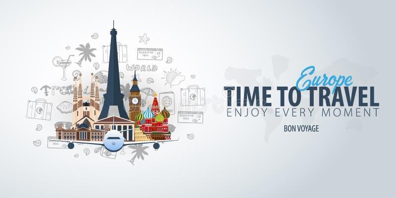 Voyage vers l'Europe Heure de se déplacer Bannière avec l'avion et griffonnages de main-aspiration sur le fond Illustration de ve illustration de vecteur