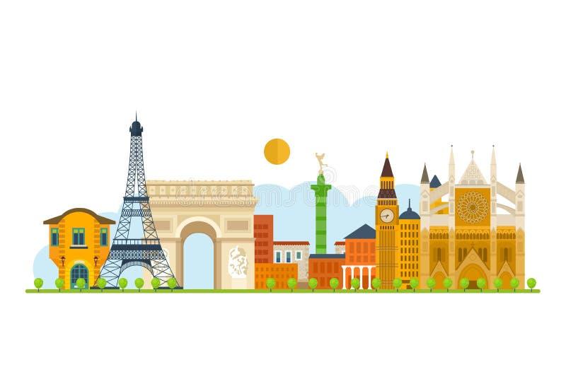 Voyage vers l'Europe Points de repère de Français et de l'Angleterre illustration de vecteur