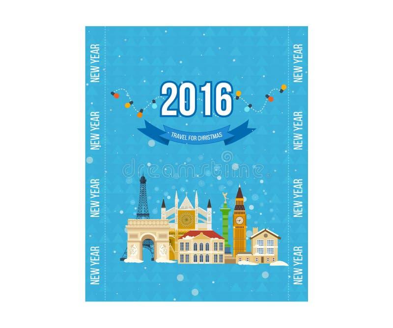 Voyage vers l'Europe pour l'hiver Joyeux Noël illustration stock