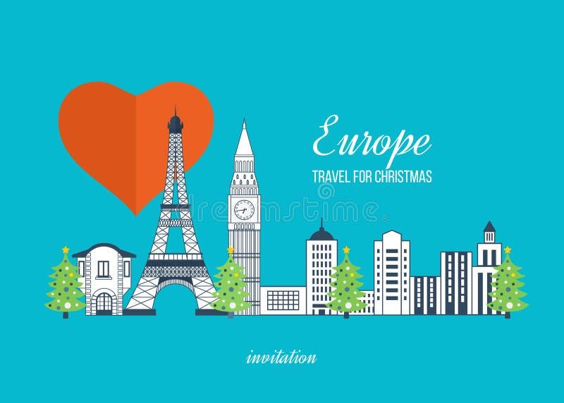 Voyage vers l'Europe pour Noël Joyeux Noël illustration de vecteur