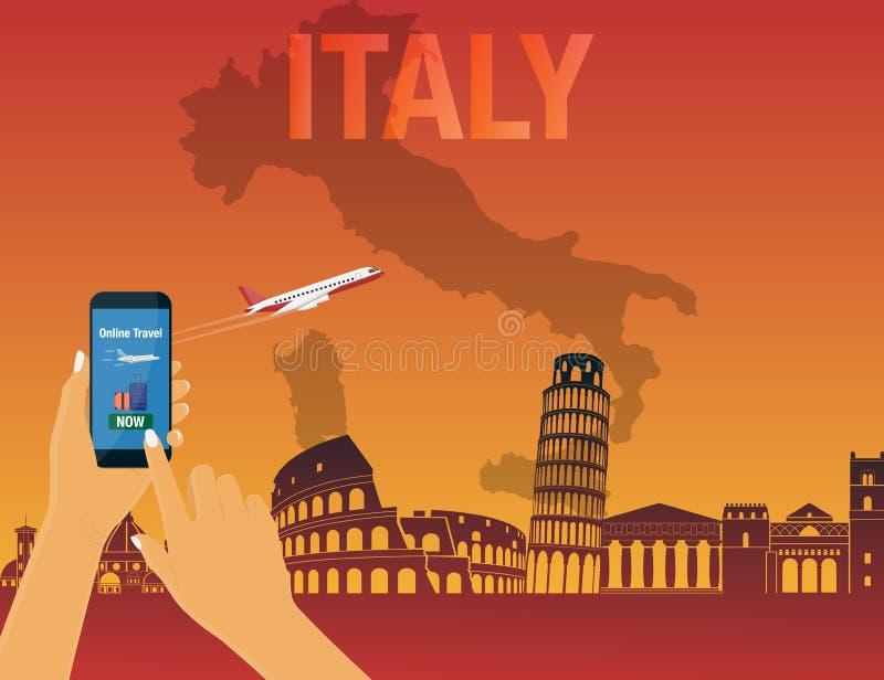 Voyage vers l'Italie Voyage à l'Européen Vacances Voyage par la route tourisme Bannière de voyage Voyage Illustration de déplacem illustration libre de droits