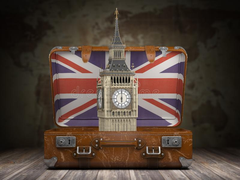 Voyage vers Londres Voyage ou tourisme vers l'Angleterre ou la Grande-Bretagne Co illustration de vecteur