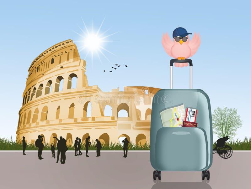 Voyage vers Rome pour visiter le Colosseum illustration stock