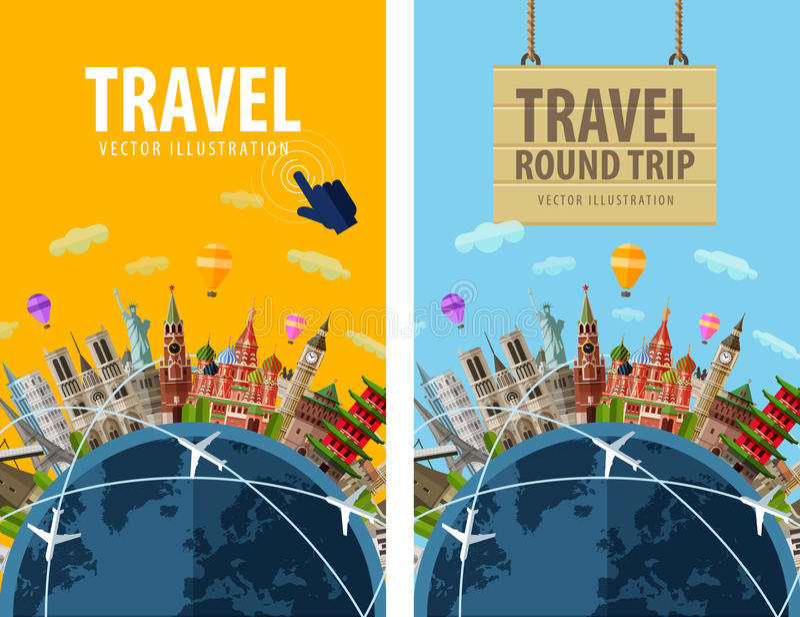 Voyage, voyage, calibre de conception de logo de vecteur de voyage illustration de vecteur