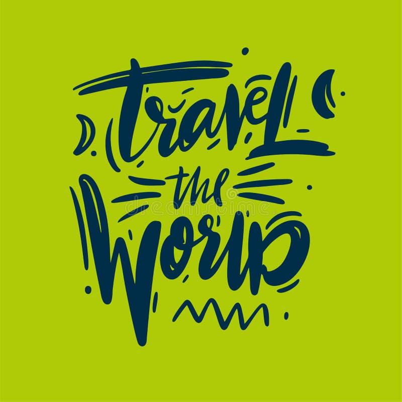 Voyagent le lettrage tiré par la main de vecteur du monde Citation d'aventure illustration libre de droits