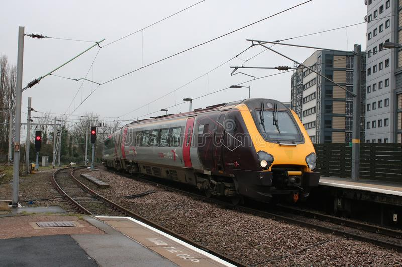 Voyager dmu cross country livery at Wolverhampton. Super voyager diesel multiple unit train in CrossCountry livery arriving at Wolverhampton railway station stock image