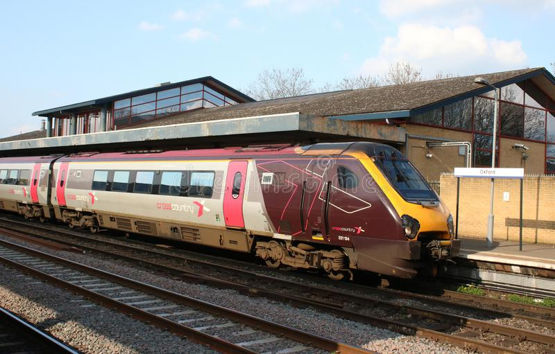 Voyager dmu CrossCountry livery at Oxford station. Voyager diesel multiple unit train in CrossCountry livery waiting at platform 3 at Oxford railway station on stock image