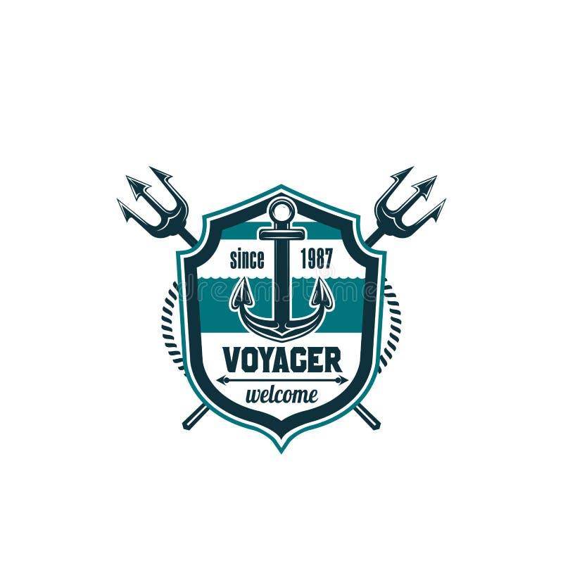 Marine Seafarer Anchor Trident Vector Icon Stock Vector