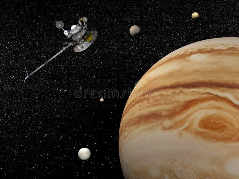 Voyagerrymdskepp nära Jupiter och dess satelliter - 3D framför royaltyfri illustrationer