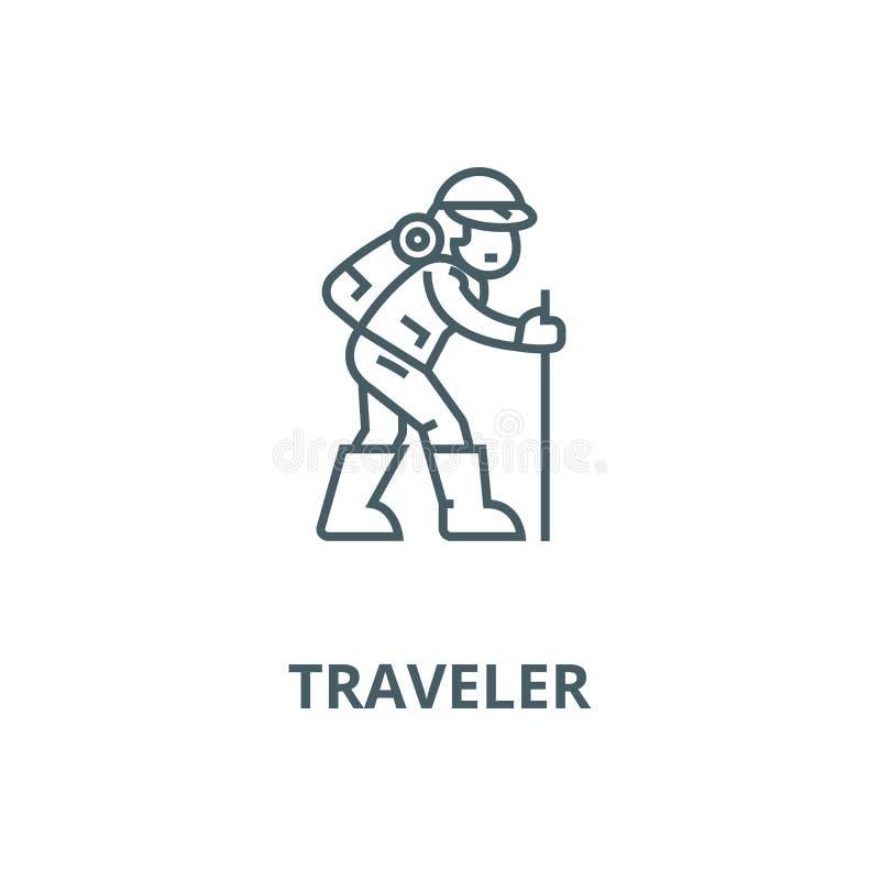 Voyageur, augmentant la ligne icône de vecteur d'homme, concept linéaire, signe d'ensemble, symbole illustration libre de droits