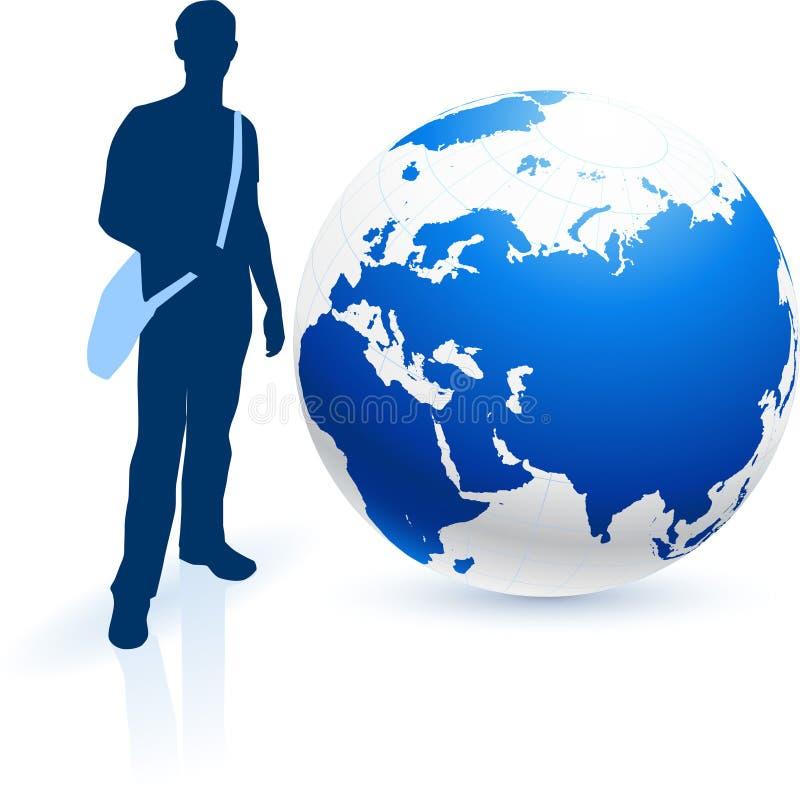 Voyageur avec le globe illustration libre de droits