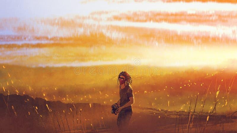 Voyageur avec un appareil-photo se tenant contre le coucher du soleil illustration de vecteur