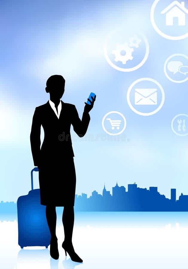 Voyageur d'affaires avec l'horizon de ville illustration libre de droits