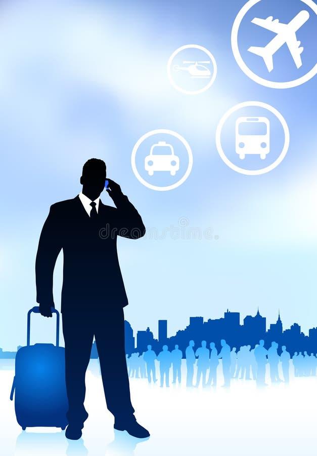 Voyageur d'affaires avec l'horizon de ville illustration stock