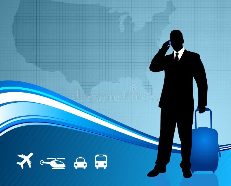 Voyageur d'affaires avec la carte des Etats-Unis illustration libre de droits