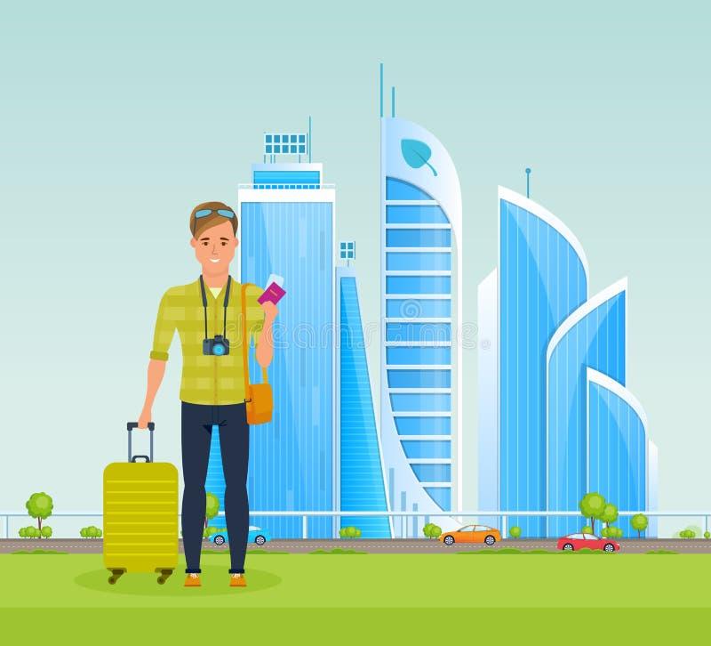 Voyageur d'homme avec le bagage et les documents, ?tudiant la ville et les vues illustration libre de droits
