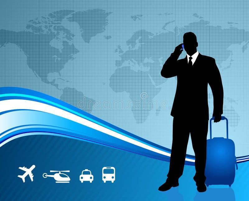 Voyageur d'homme d'affaires avec le fond de carte du monde illustration de vecteur