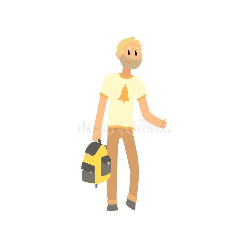 Voyageur d'homme de bande dessinée avec le sac, homme d'auto-stoppeur essayant d'arrêter une voiture sur une route à la main, voy illustration libre de droits
