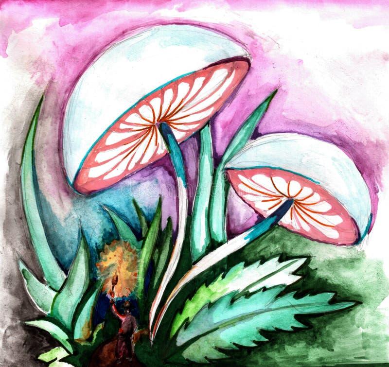 Voyageur dans la forêt de féerie, champignons fluorescents illustration libre de droits